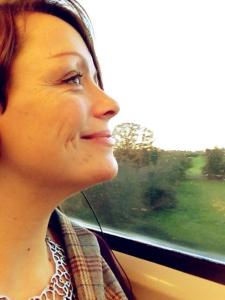 happy beccy face on way to wales